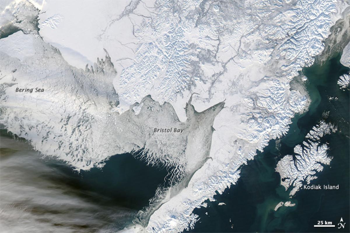 Sea ice off southwestern Alaska.  Photo courtesy NASA Earth Observatory and Wikimedia Commons.