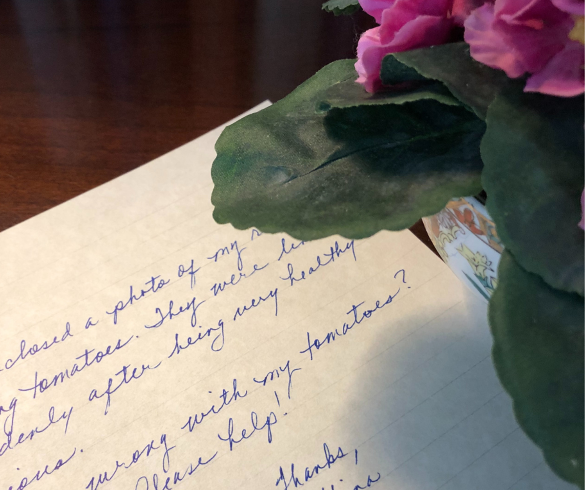 Letters requesting gardening advice are common to master gardeners.
