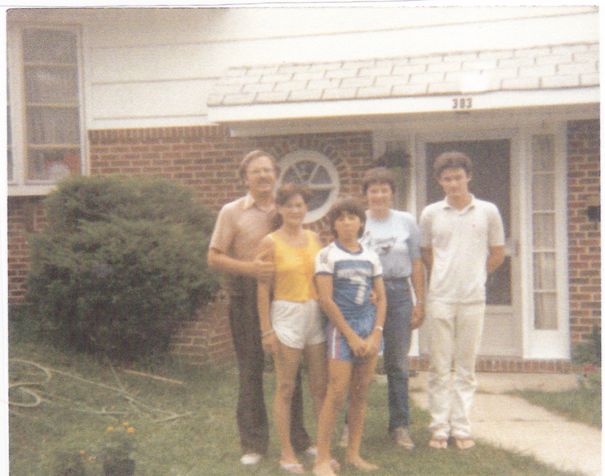 Photo is with my first wife, Mona, two sons, and younger sister, Pat.  Picture taken in 1986.