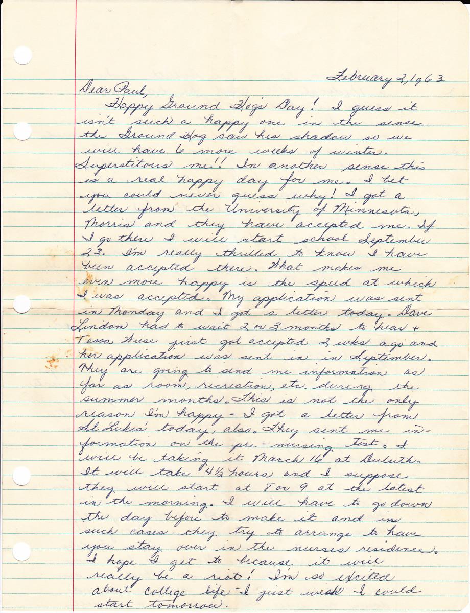 Letter from my penpal Betty J in Minnesota.