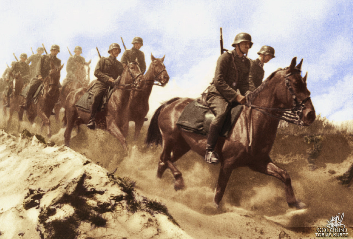 """The Cavalry Division """"Florian Geyer""""  formed in 1942 from a cadre of the Cavalry Brigade which took part in Bandenbekämpfung (""""bandit-fighting"""")  behind the front line."""