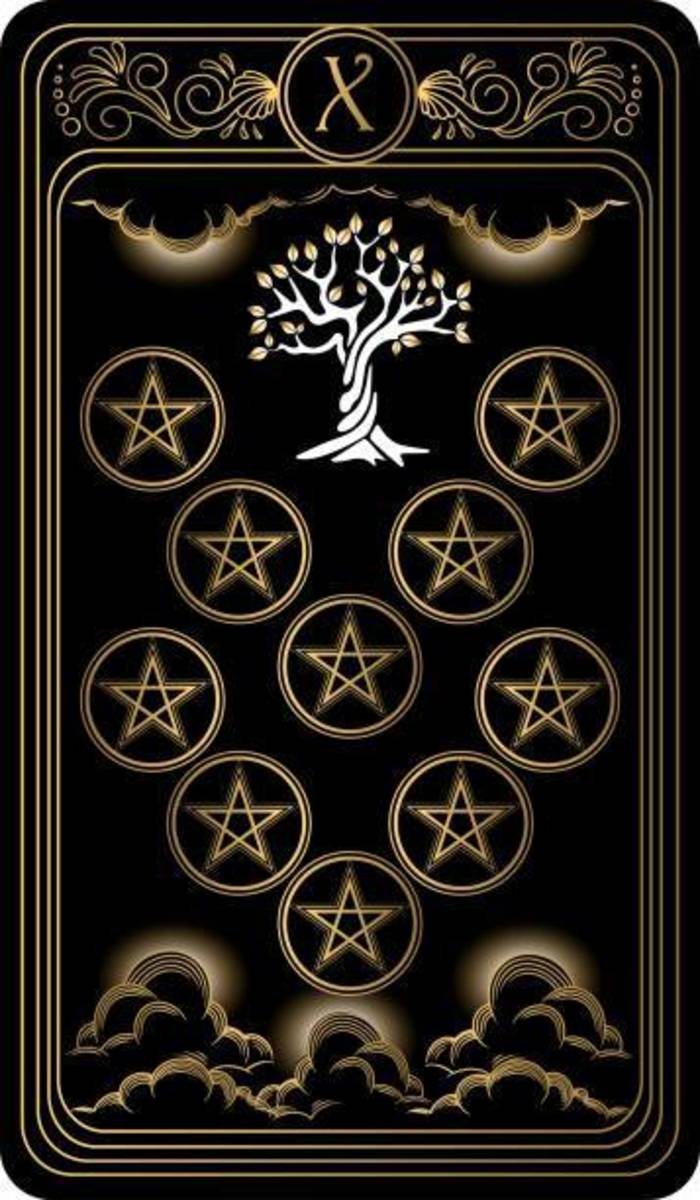 The Ten of Pentacles plays off imagery of the Tree of Life diagram in Kabbalah.