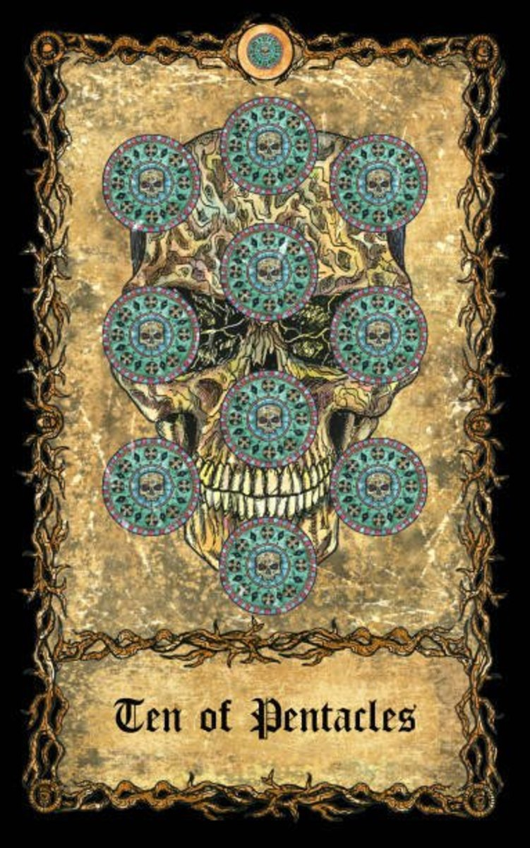 The Ten of Pentacles is a powerful card. It shows that you have an excellent relationship with both money and spirit. You desire good things for all. You support yourself and others with money.