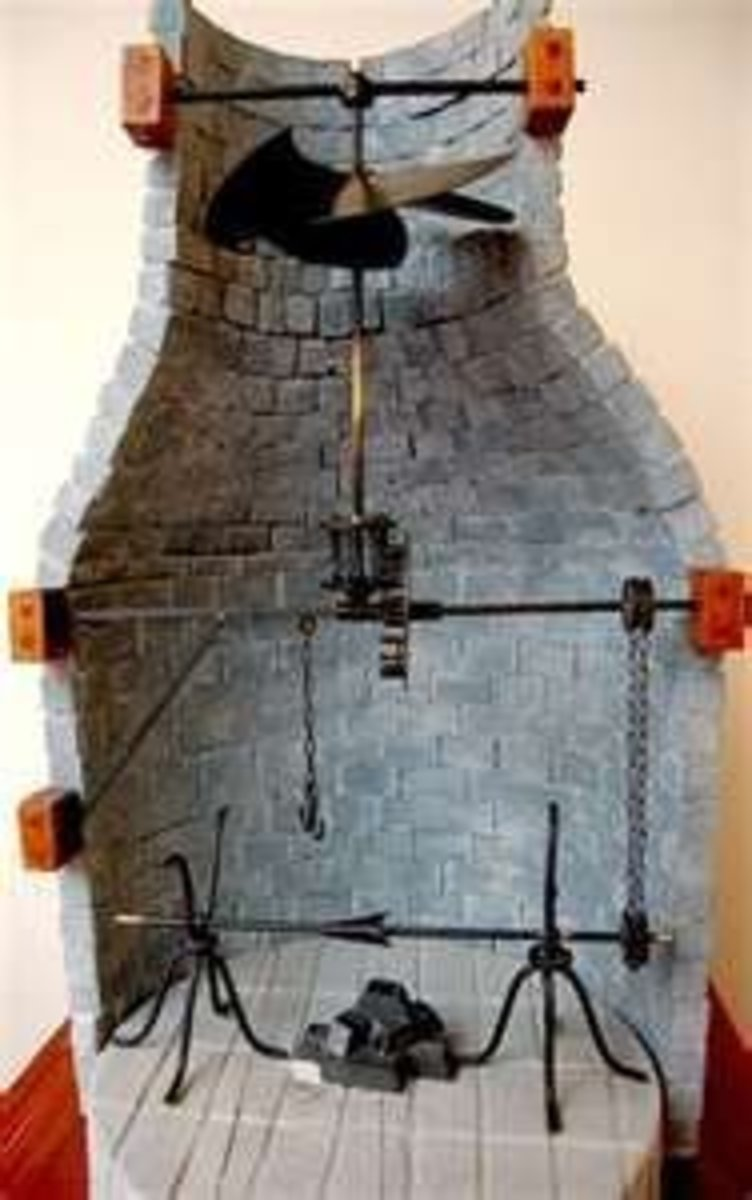 Modern recreation of Leonardo's convection meat roasting spit
