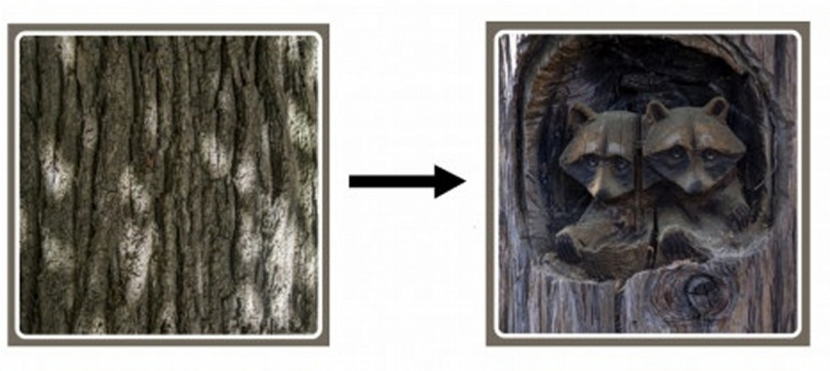 Wood carving to make sculpture is an example of physical change.