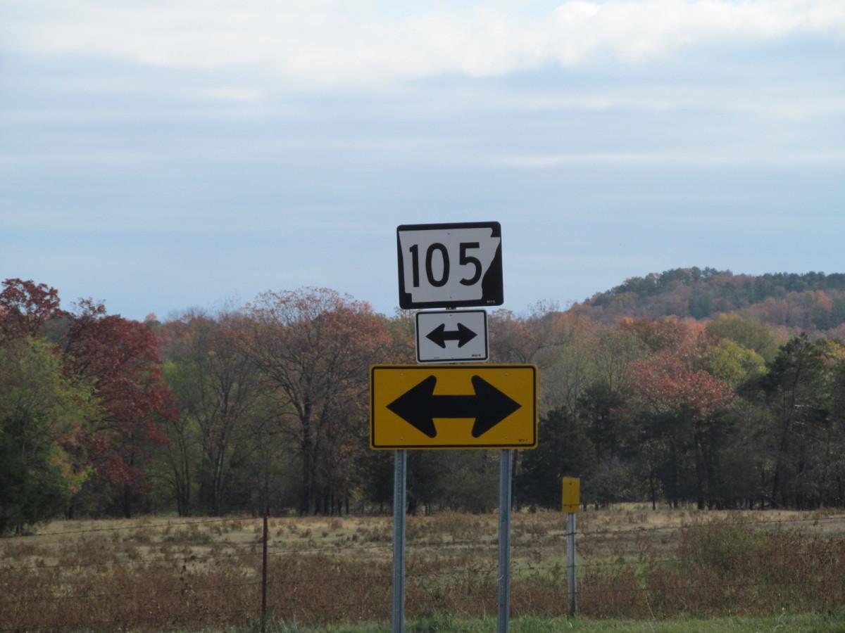 Hwy 105, North of Atkins, Arkansas, from Hwy 124