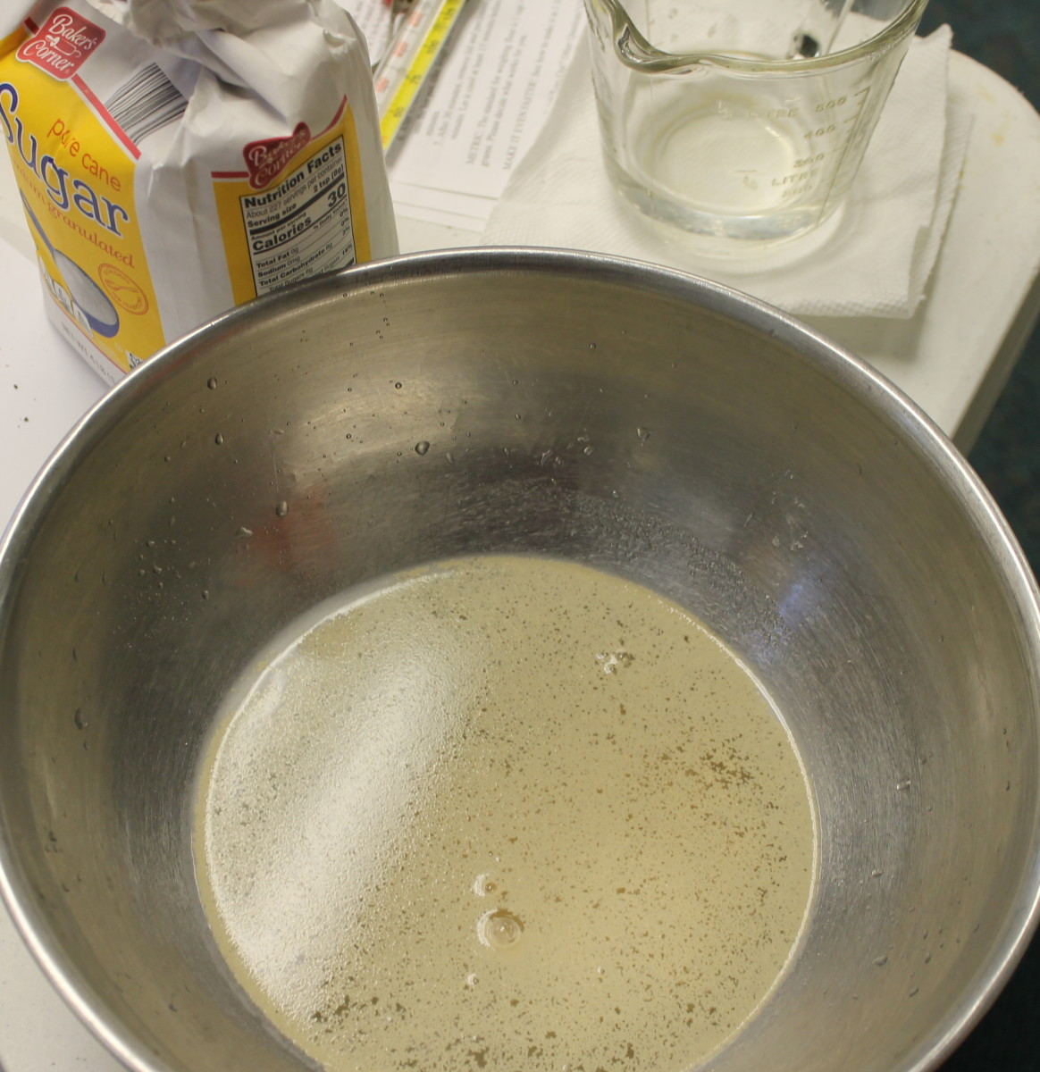 Yeast with water and sugar