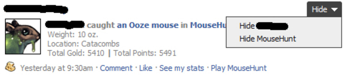 Hide MouseHunt from Facebook homepage