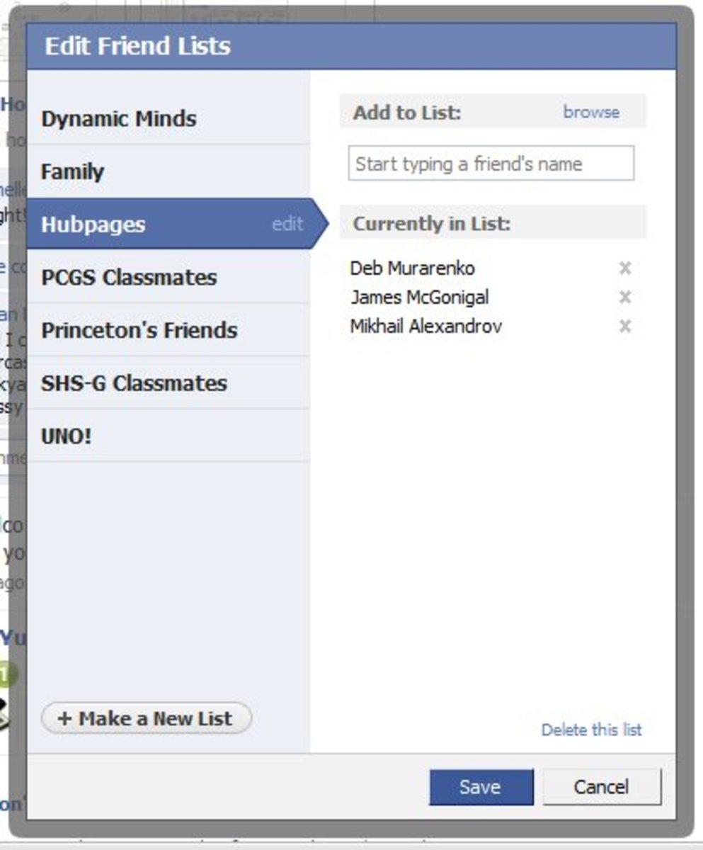 Create or delete filters on facebook homepage