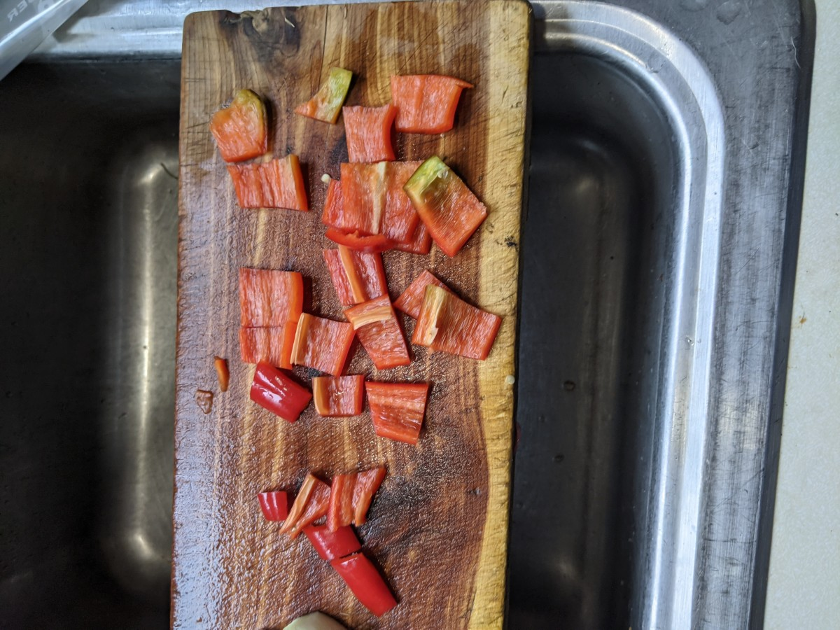 Sweet pepper, cut into squares
