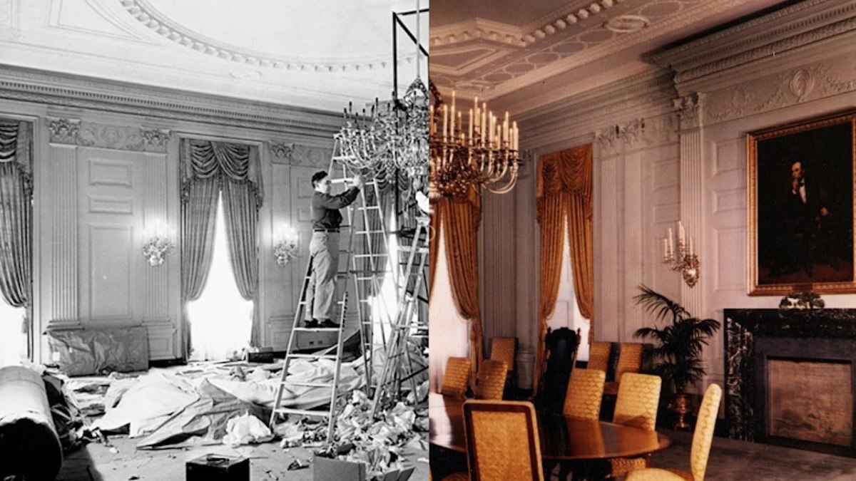 """The White House Reconstruction took place from 1949 and 1952. After 150 years of """"hurried renovations,"""" this massive project """"was a comprehensive dismantling and rebuilding of the interior of the White House,"""" from the ground up."""