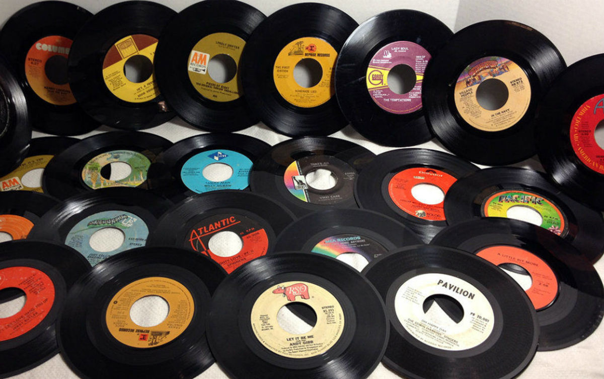 """In 1949, RCA introduced 7-inch vinyl records, also known as 45s. NJSpotlight.com tells us that the 45 rpms sounded better than the 78s, """"lasted longer, and tended not to shatter if dropped."""""""