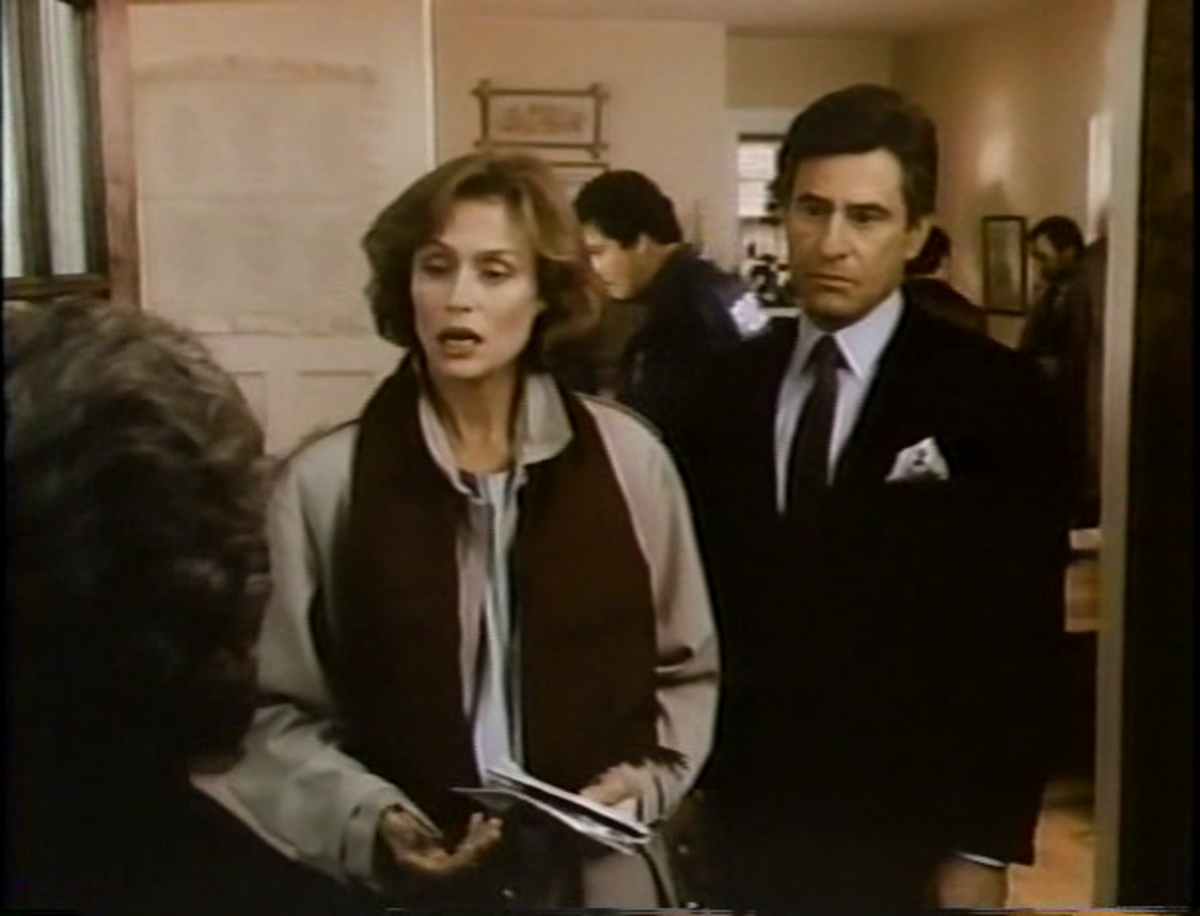 Kathy DeMaio (Lauren Hutton) asks for directions as Dr. Highley (James Farentino) listens intently