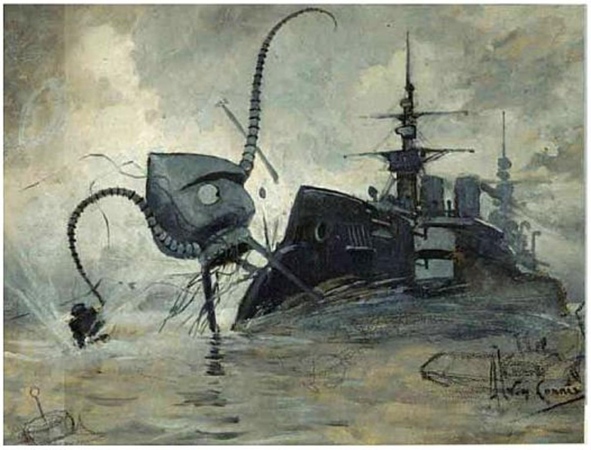 A Martian fighting-machine battling with HMS Thunder Child. (Corrêa, 1906)