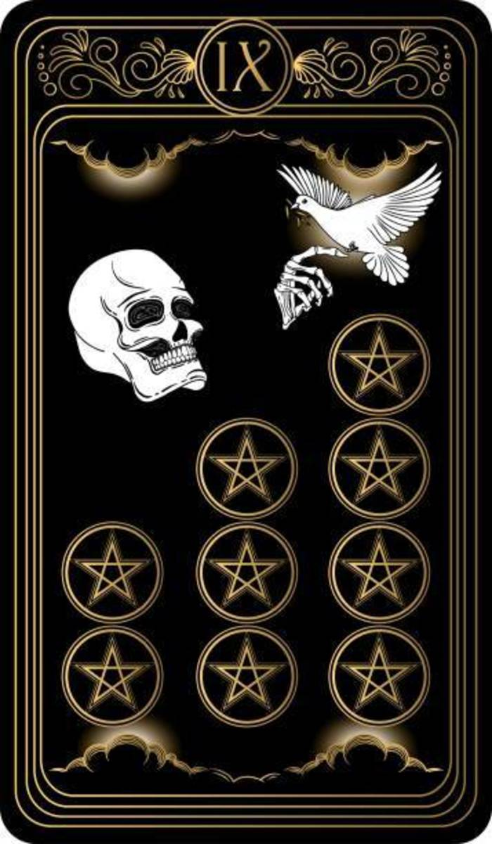 The Nine of Pentacles indicates lasting wealth. You can live comfortably and not in fear of excessive bills. You can survive an emergency because you have a surplus for that very reason. You are wise and people see you that way.