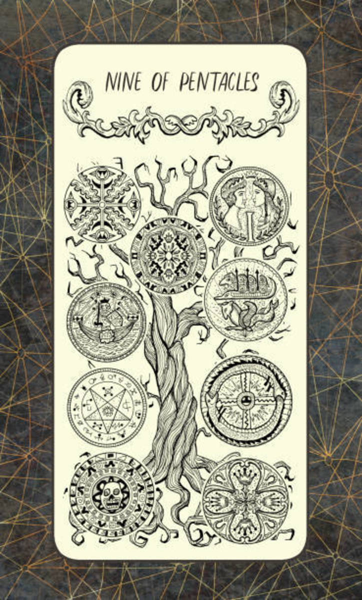 Consider the pentacles as seeds or fruits. You want to have a large harvest. You want to look out your window and see that your fruit tree is thriving. A healthy fruit tree is a metaphor for a healthy spiritual life.