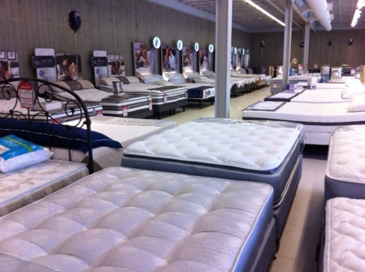 Bedding store with a sea of beds!