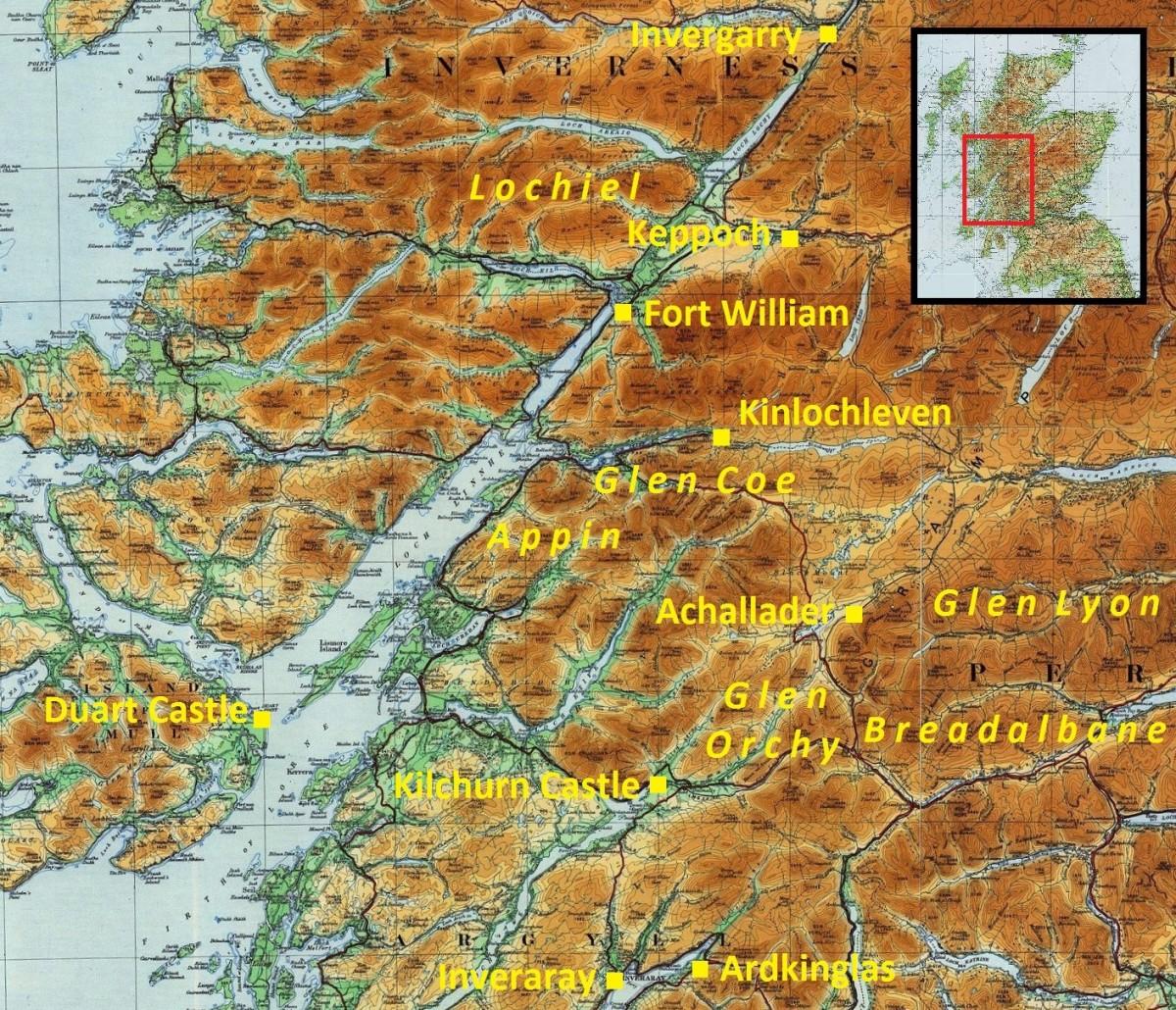 Map of Glencoe, Scotland
