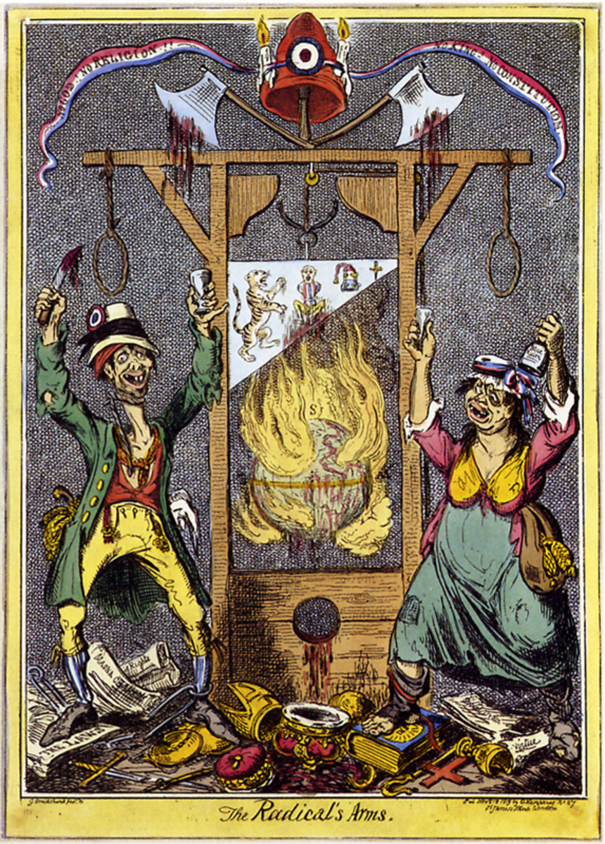 Caricaturist George Cruickshank's depiction of Madame Guillotine in operation.