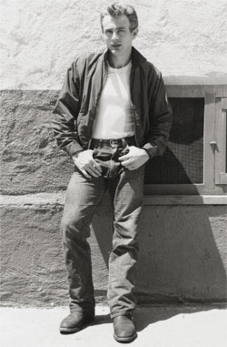 James Dean wearing blue jeans