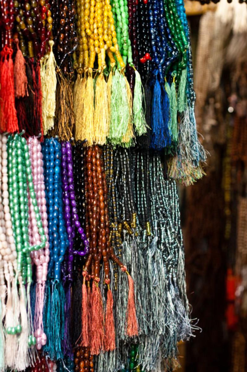 multicoloured prayer beads.