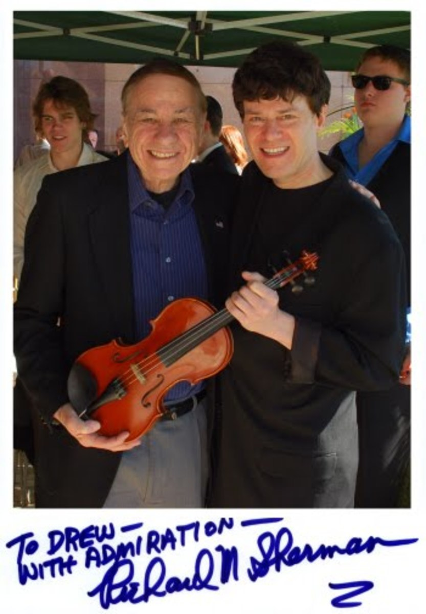 """Drew was honored to be invited by the Robert B. Sherman family to perform for the late songwriter's ceremony. With his brother Richard, they wrote classics such as """"It's a Small World,"""" and songs for musicals such as Mary Poppins, Chitty Chitt"""