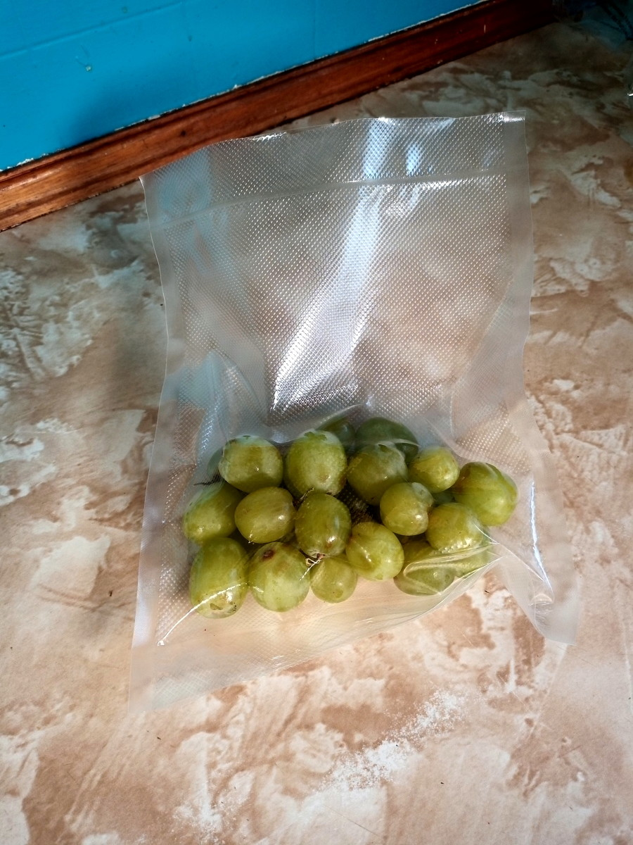I used the 'inching' button to suck out enough air to help preserve the grapes without crushing them