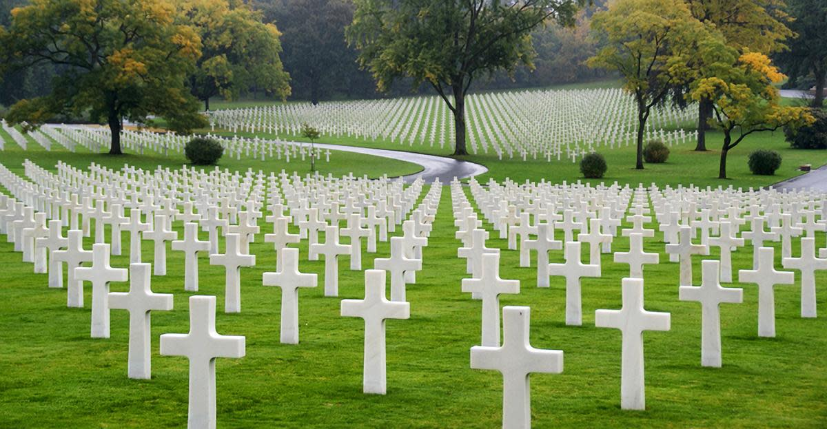 Crosses in a military cemetery in France.