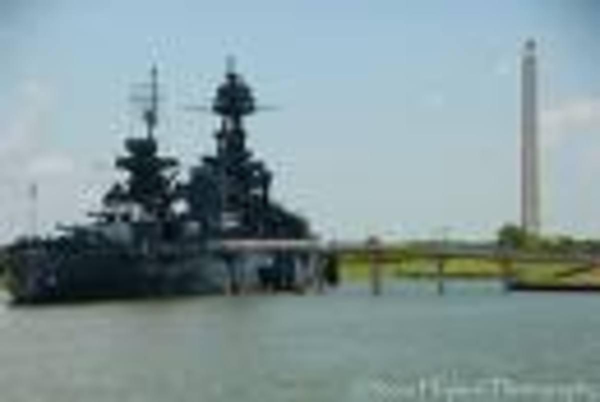 Battleship Texas with the San Jacinto Monument in the distance, San Jacinto Battleground, La Porte, Texas
