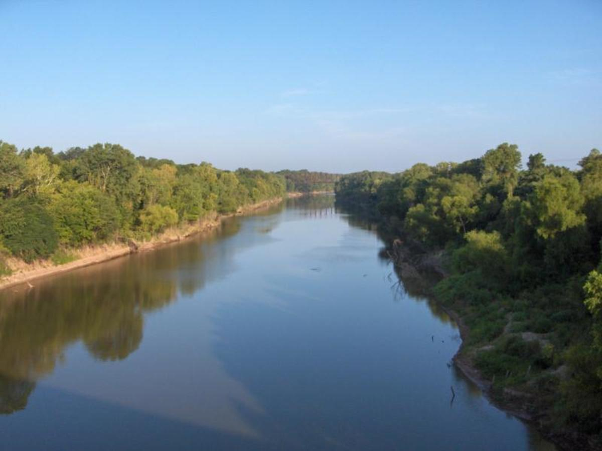 Aerial View of the Brazos River, Texas ( I once had this exact view from a Rope Swing at El Rancho Cima Boy Scout Camp, Blanco River, Wimbereley, Texas.)
