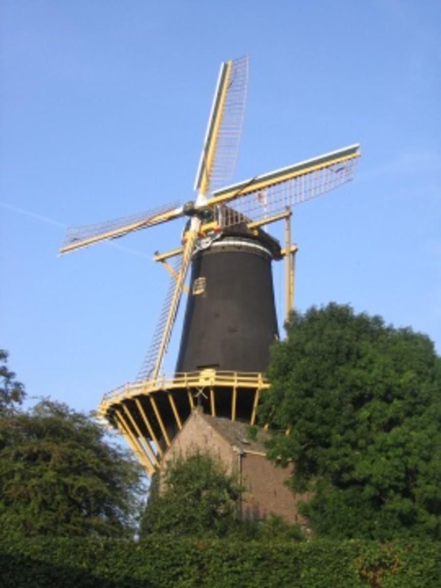 Dutch Windmill, Somewhere along a canal near Oosterhout, Netherlands