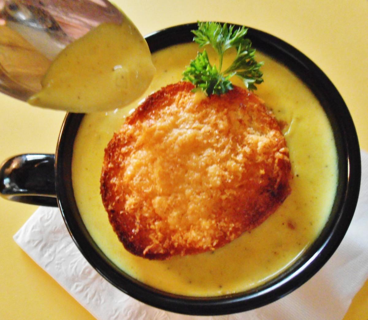 Curry corn chowder with pancetta