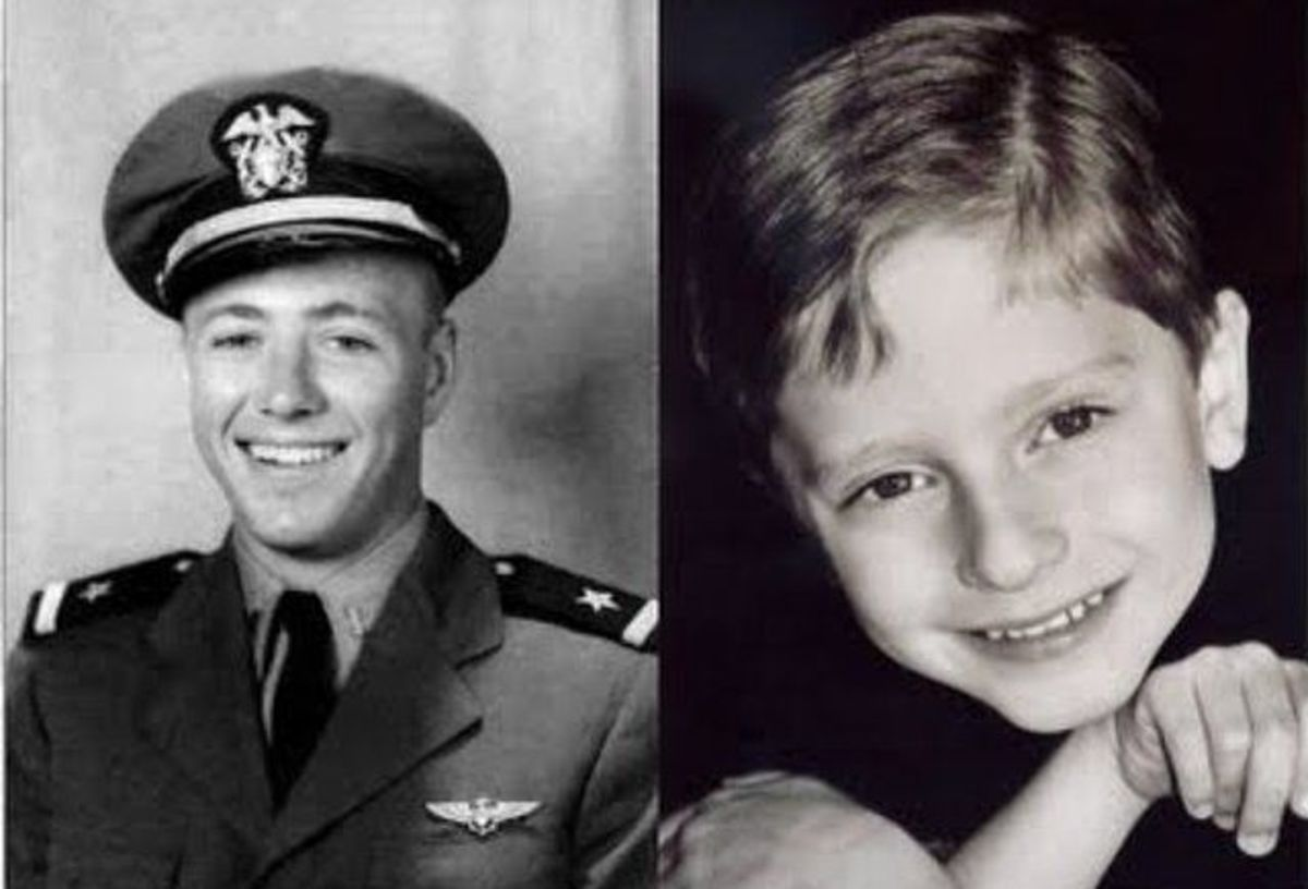 Navy Pilot James M. Huston, Jr. and James-Leiniger, the boy who is apparently the reincarnation of the pilot who died in WW2.