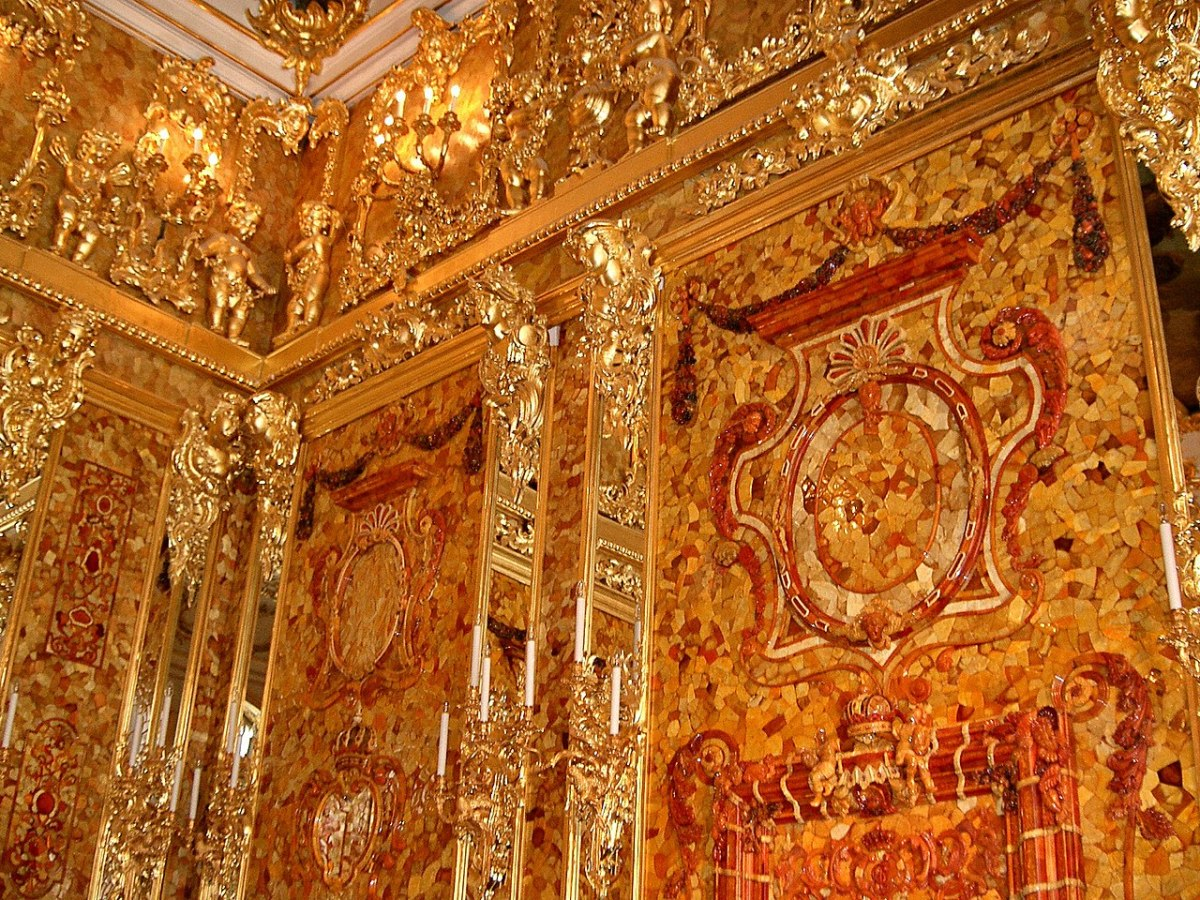 The Amber Room in Catherine Palace in St. Petersburg, Russia