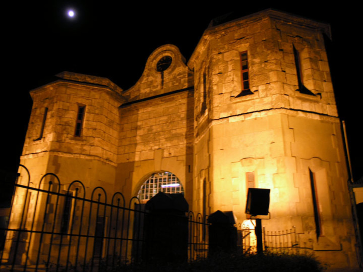 Fremantle Prison gatehouse. The prison was built using convict labour in the 1850s.