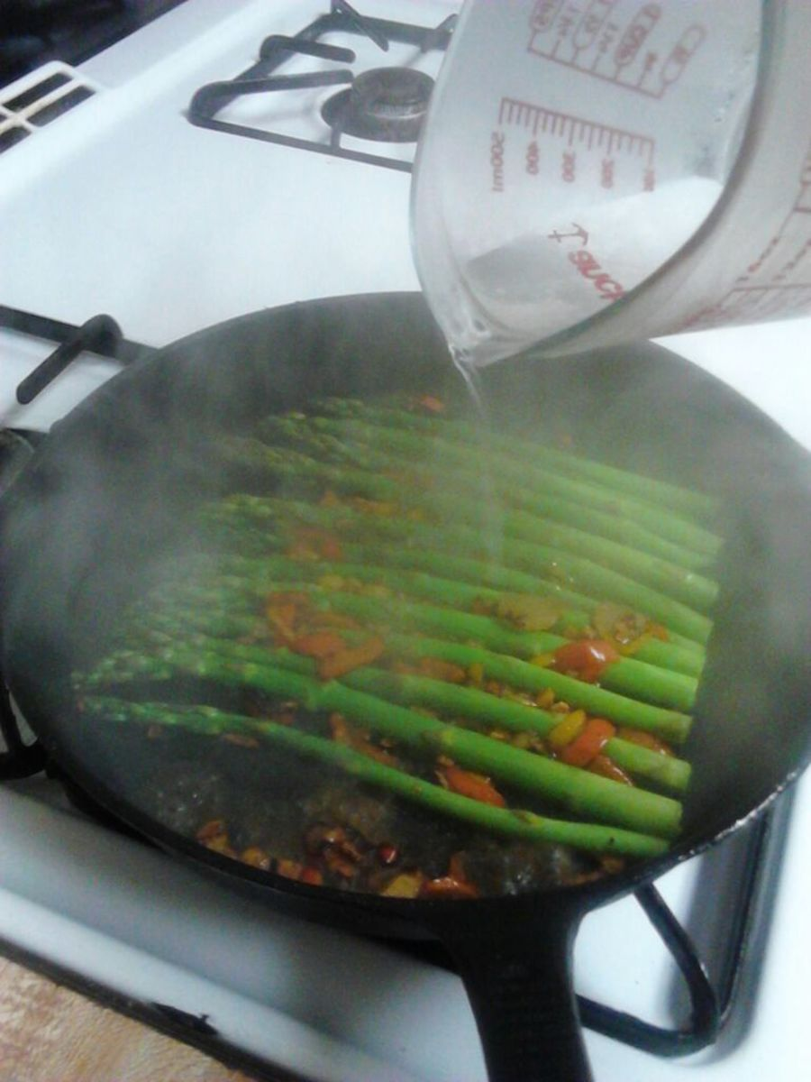 Add water and optional soy sauce