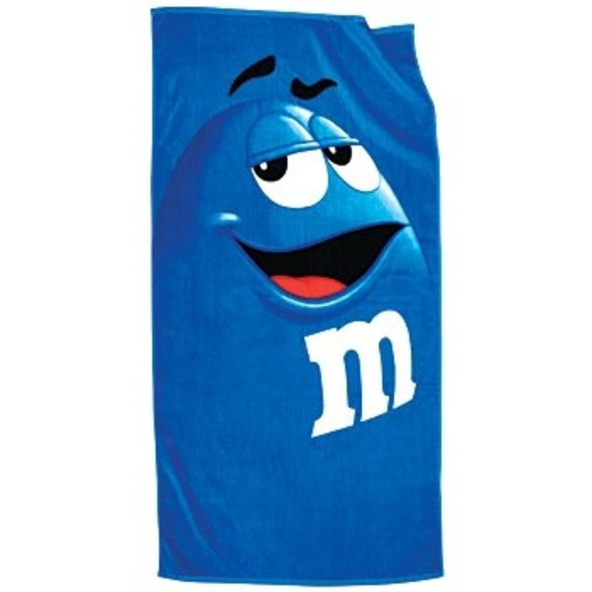 Extra Long Blue M&M Beach Towel