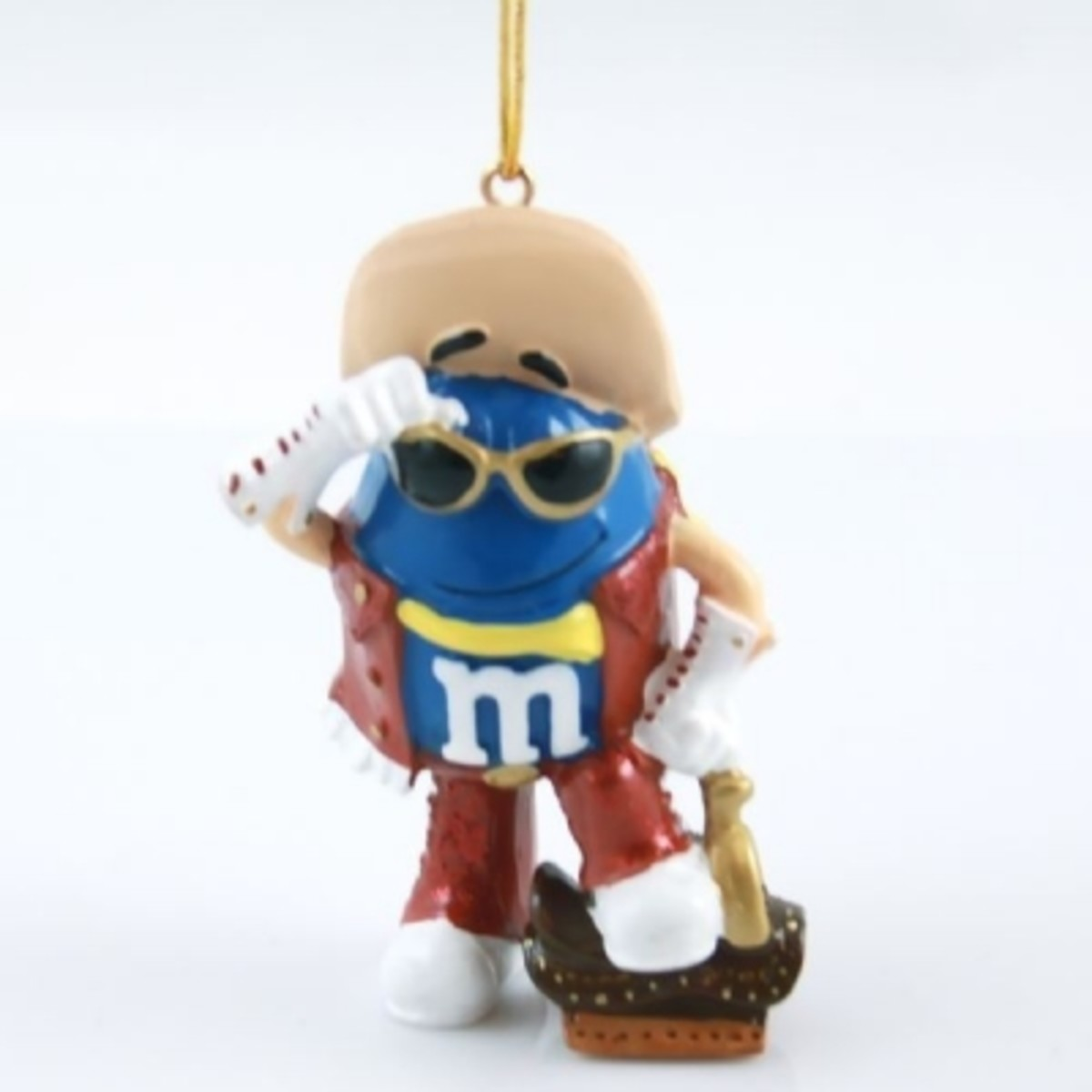 Blue M&M Cowboy Christmas Ornament