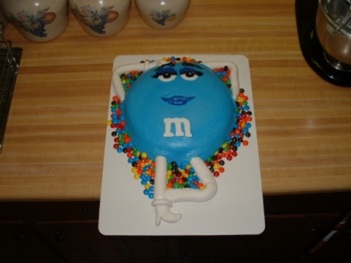Blue M&M Lady Birthday Cake Ideas