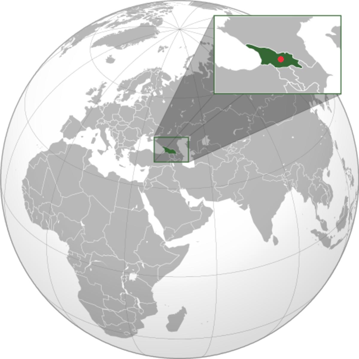 Stalin was born in Gori (red dot), in Georgia (green), in the Tsarist Russian Empire.