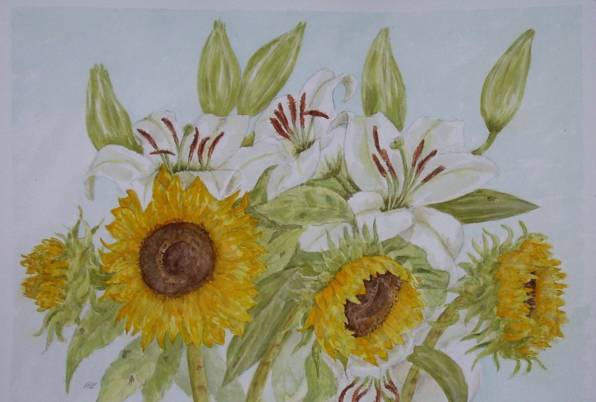 """""""Sun and Moon"""" by Adele Cosgrove-Bray; watercolour; 2020."""