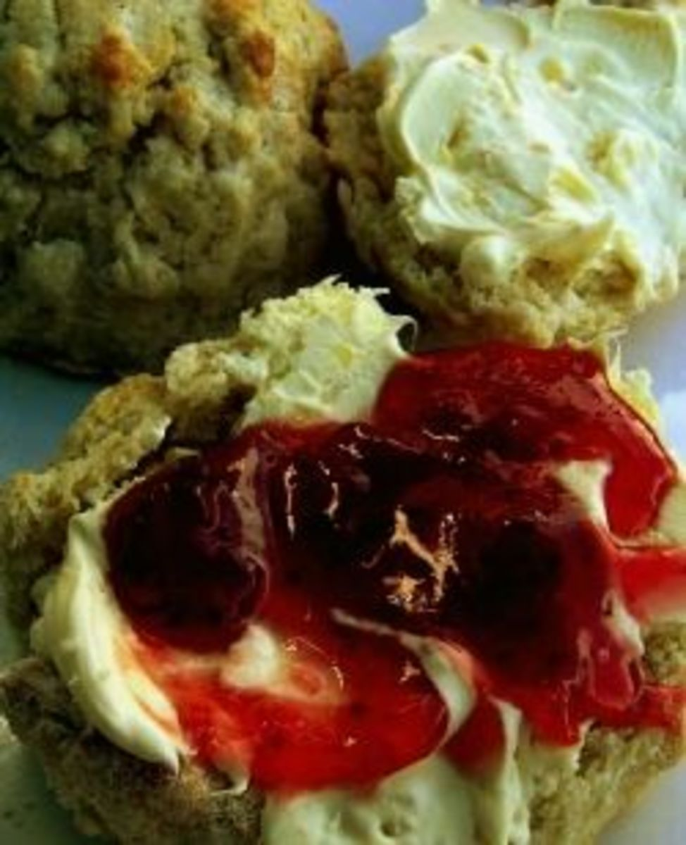 Scone with cream on first, then jam