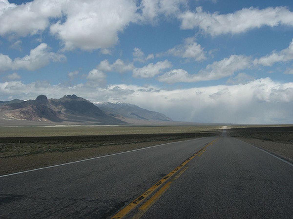 Driving through the empty desert