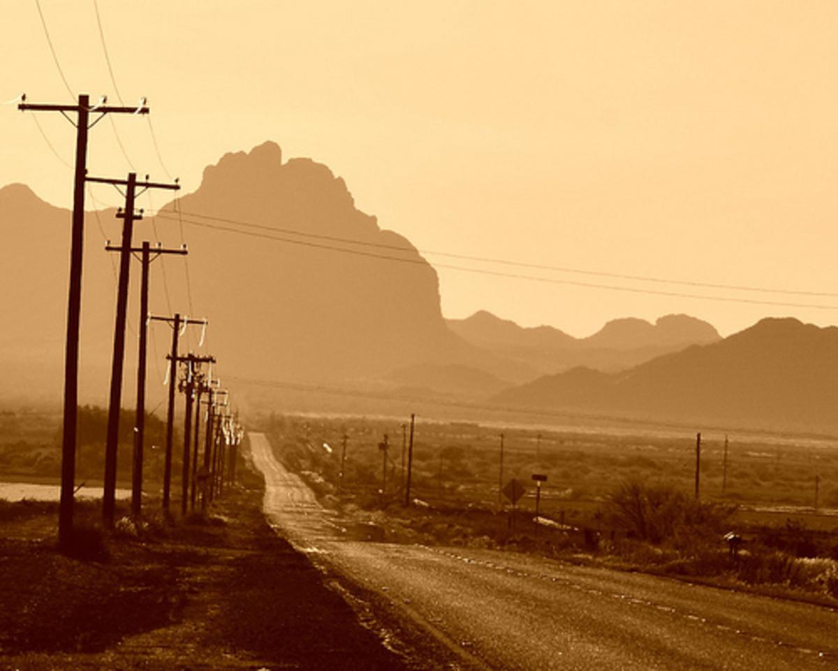 The desert reveals a strange road going some strange place.