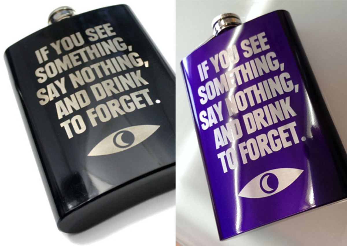"""If you see something, say nothing, and drink to forget."" Welcome To Night Vale Flask."