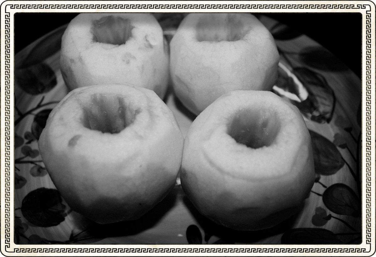 Peeled and Cored Apples Ready For Boiling Sauce.