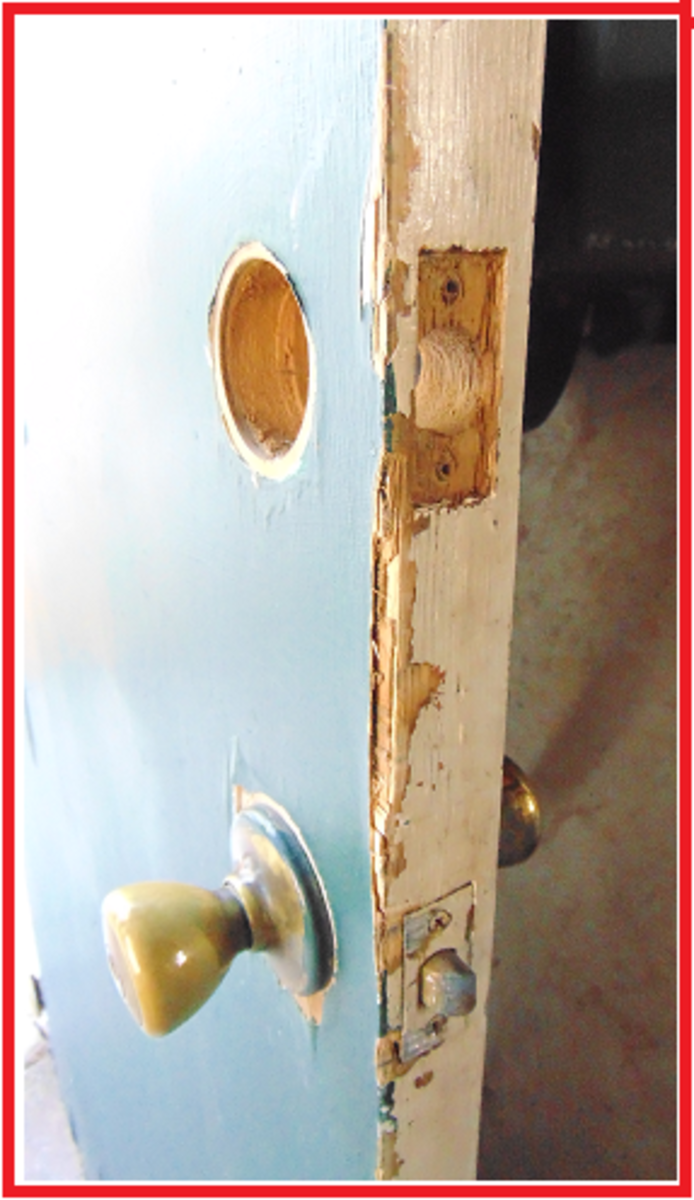 Make sure the hole from the old deadbolt lock is clear of debris, dirt & dust.