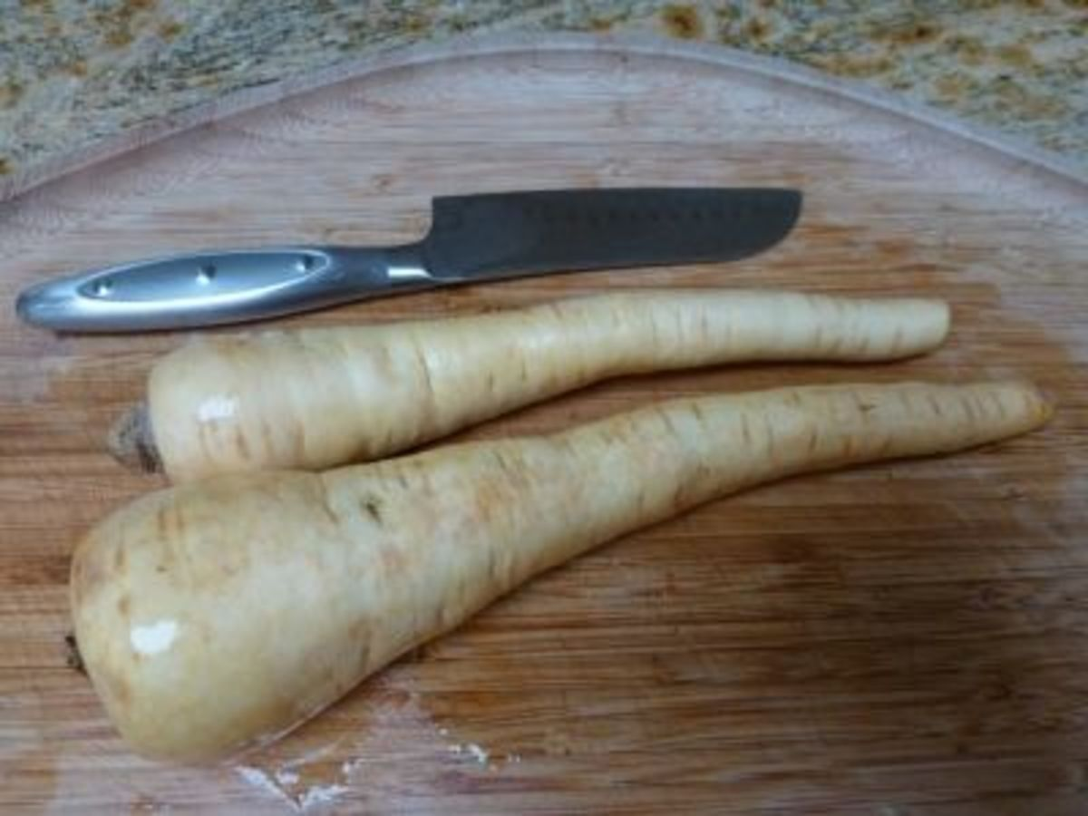 Parsnip is a cream-colored root vegetable related to the carrot and is naturally cholesterol-free, low in calories and sodium.