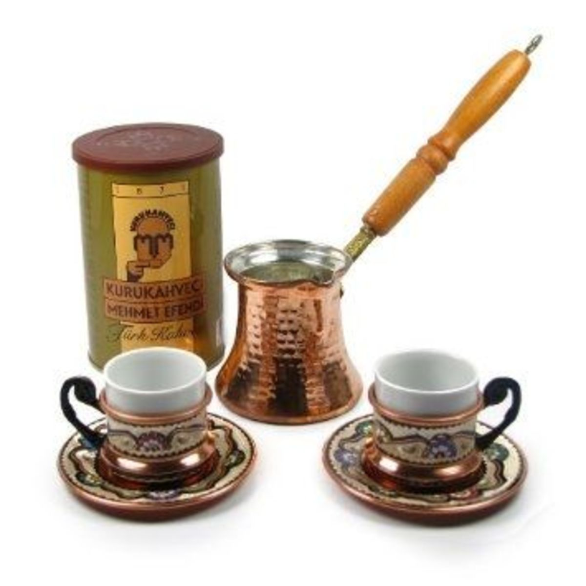 Here's a Turkish Coffee Set Made By Anatolian Artists.  A Great Gift For Turkish Coffee Lovers Or Anyone Who Collects Unique Coffee Makers.  Photo Credit Amazon.