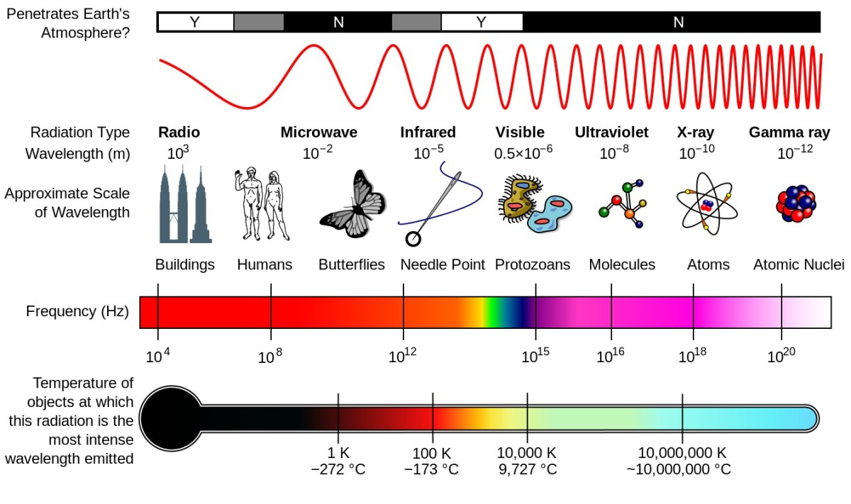 The different types of electromagnetic radiation differ in wavelength (and therefore in frequency as well). The wavelengths are often arranged in a diagram known as the electromagnetic spectrum.